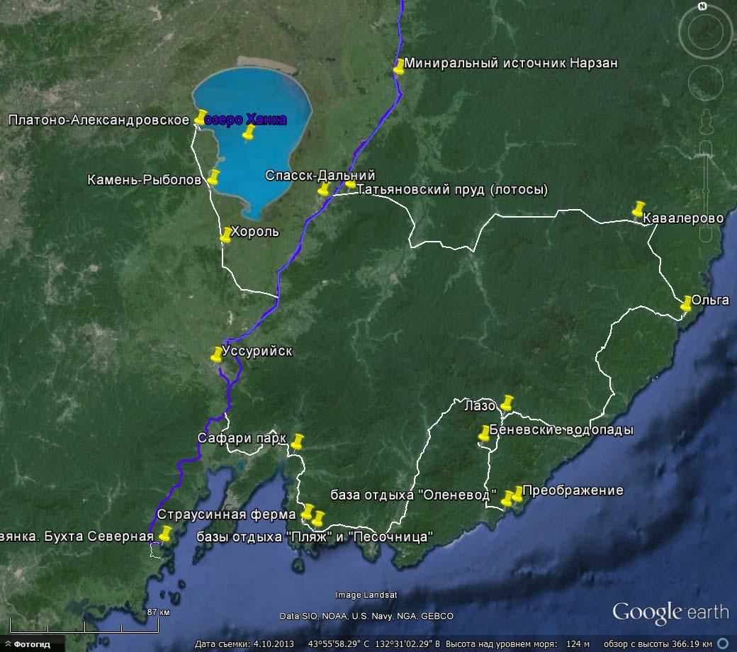 карта путешествия по Приморью